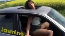 Jasmine fucked in the ass in a car with sunroof