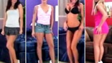 Varias preciosa mujeres haciendo pajas con los pies visto en primera persona