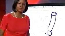 Presentadora de televisión dibuja una polla en la pantalla