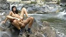 Black Angelika getting fucked in the ass right in the heart of nature
