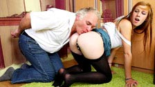 The young Alexis Crystal having a threesome with an old man and her bf