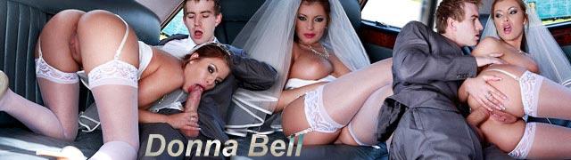 Putain Donna Bell le conducteur le jour de son mariage, vêtue de blanc