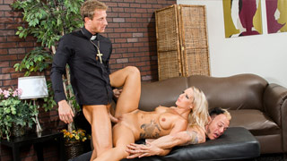 Cali Carter fucking with the Father Ryan Mclane in front of her husband