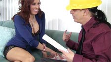 The mature Layla Rivera getting penetrated by a quantity surveyor on the couch