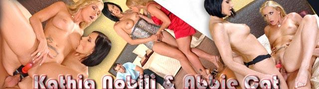 Sexo a três quente com Abbie Cat e Kathia Nobili usando um chicote