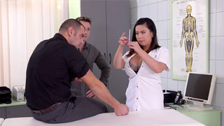 Two patients who are sexual deviants bang the curvy doctor Tigerr Benson