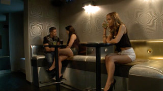 Sabrina Moore flirts with a guy in a pub and they fuck in the VIP area