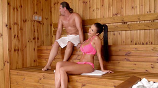 Patty Michova gapes her twat wide open in the sauna to get fucked