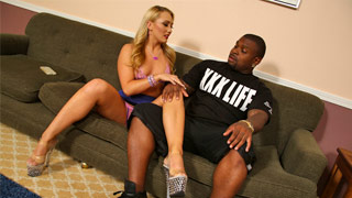 AJ Applegate gets fucked by a black dude and other men cum over her face