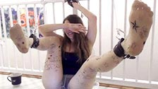 Homemade submission and foot fetish scene starring a pretty submissive teen