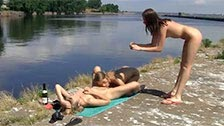 Three young dykes enjoy sex between girls while being on vacation