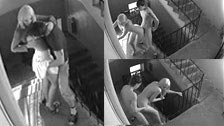 Hidden camera records a couple fucking in an entrance hall