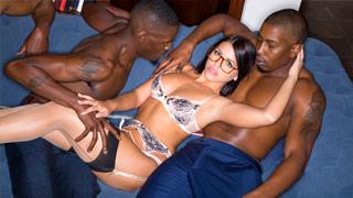 Adriana Chechik cheating with three well-endowed blacks