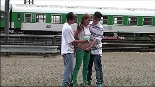 Alexis Crystal fucking two guys next to the train tracks