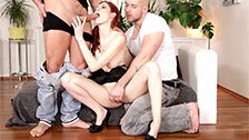 Ginger Kattie Gold fucked in a hot bisexual threesome