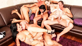 Couple swapping with Gina Devine, Angel Piaf and Enza