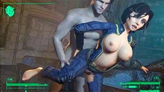 A personagem Elizabeth, do jogo Bioshock, transando no mundo de Fallout