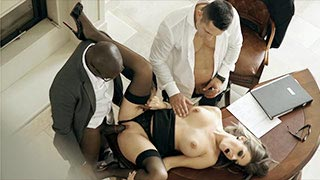 Cara the secretary fucked in an office by two men