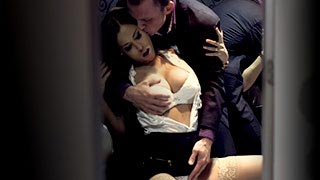 Satin Bloom and her husband having anal sex inside a restroom