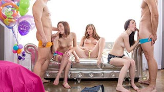 Capri Anderson in an orgy during her birthday