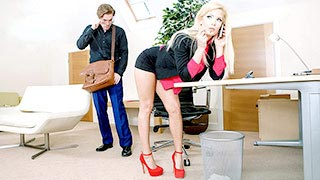 Candee Licious, a blonde and horny secretary doing a delivery guy