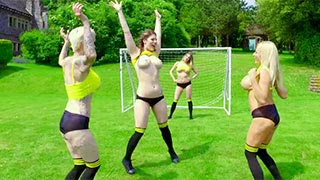 Lucia Love, Tamara Grace, Michelle Thorne and Mila Milan playing football
