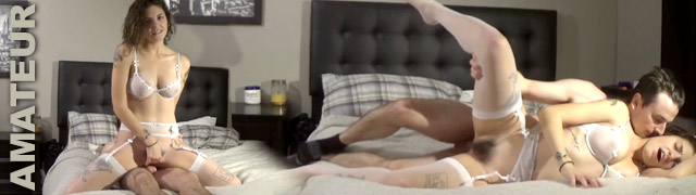 Amateur couple recording their own porn video with a final creampie