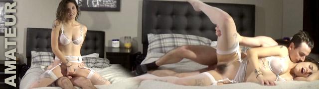 Pareja amateur grabando su propio video porno con creampie final