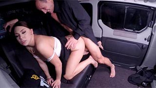 Morgan Rodriguez fucked by her chauffeur against the back seat