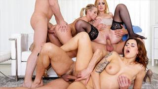 Orgia com as amigas Billie Star, Eva Berger e Vinna Reed